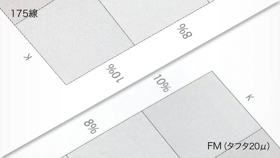 印刷網点の拡大図 上-175線 下-高精細印刷FMスクリーン20マイクロ(タフタ)