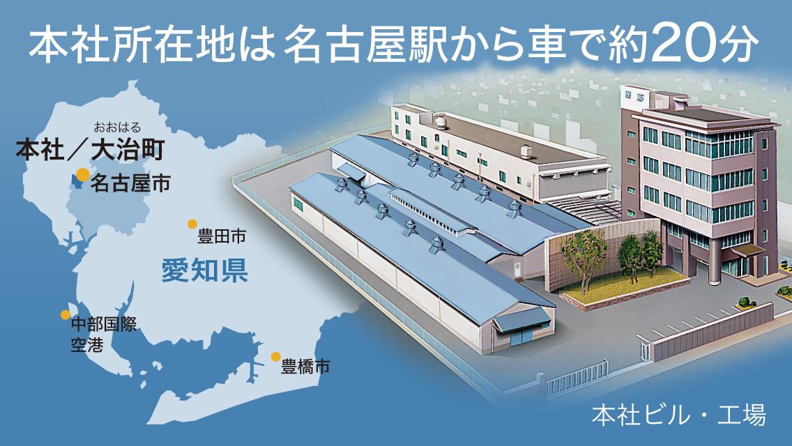 本社所在地は名古屋駅から車で約20分