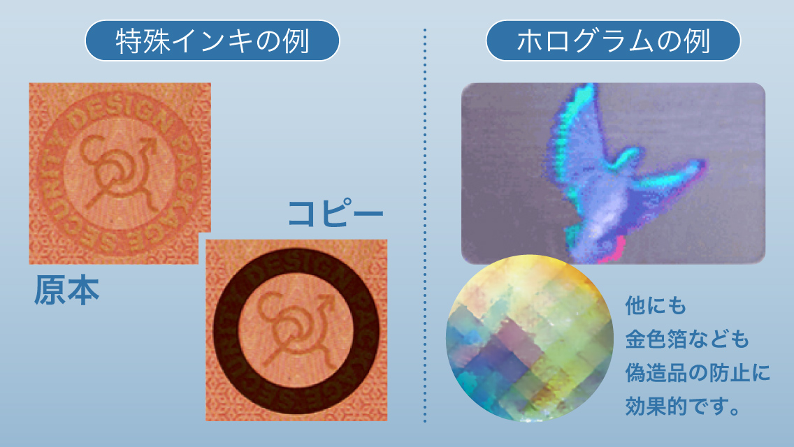 特殊インキとホログラムの例