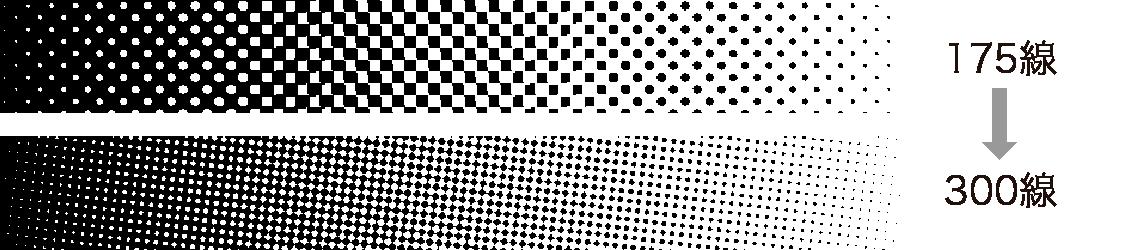印刷網点の拡大図 上-175線 下-高精細印刷300線